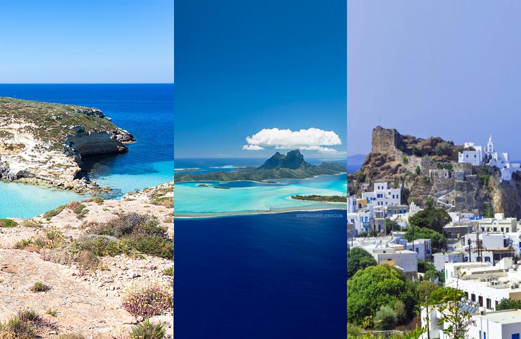 Lampedusa (Italy), Bora Bora (French Polynesia), and Nisyros (Greece)