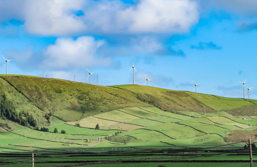 Windturbines on the island of Terceira, Portugal